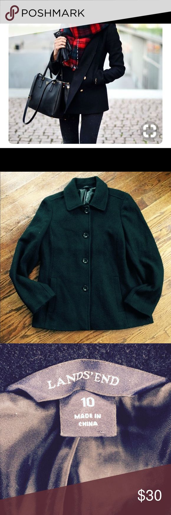 Land's End black pea coat Black button up pea coat. Very nice quality. Thick material. All buttons intact. Model pics are just for styling ideas, but this coat is a basic that can be worn with everything!  Smoke free. Bundle 3 items and save 25%! Lands' End Jackets & Coats Pea Coats