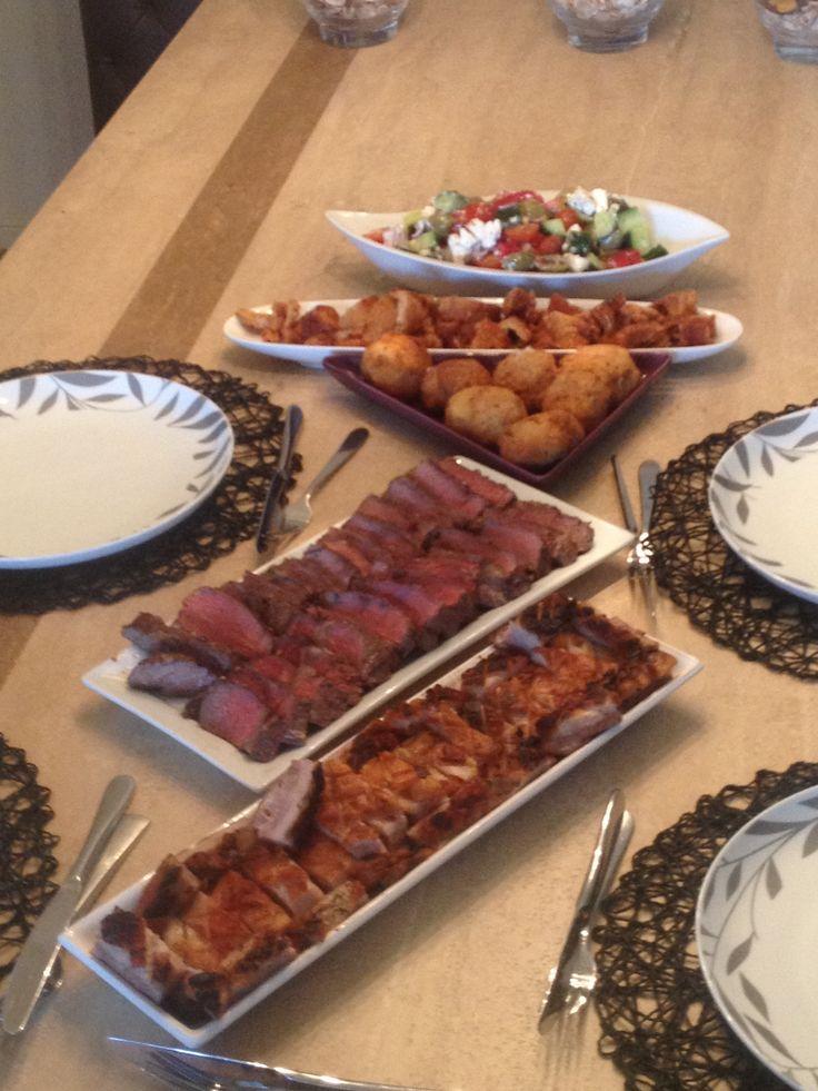 Pork belly, rib fillet, Greek salad & crackle.  Awesome lunch!!