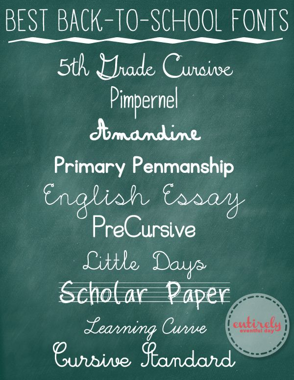 "Best Back-to-School Fonts - I've used ""Learning Curve"" for a long time, but I like 5th Grade Cursive even more!"