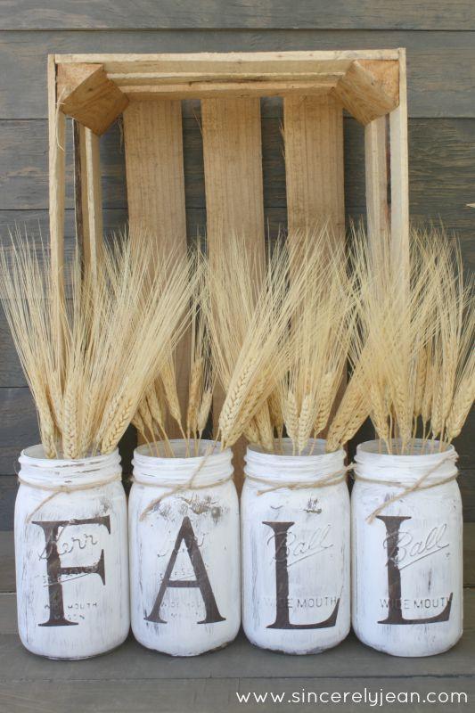 DIY fall rustic mason jars craft tutorial - the perfect fall craft, place straw inside | www.sincerelyjean.com