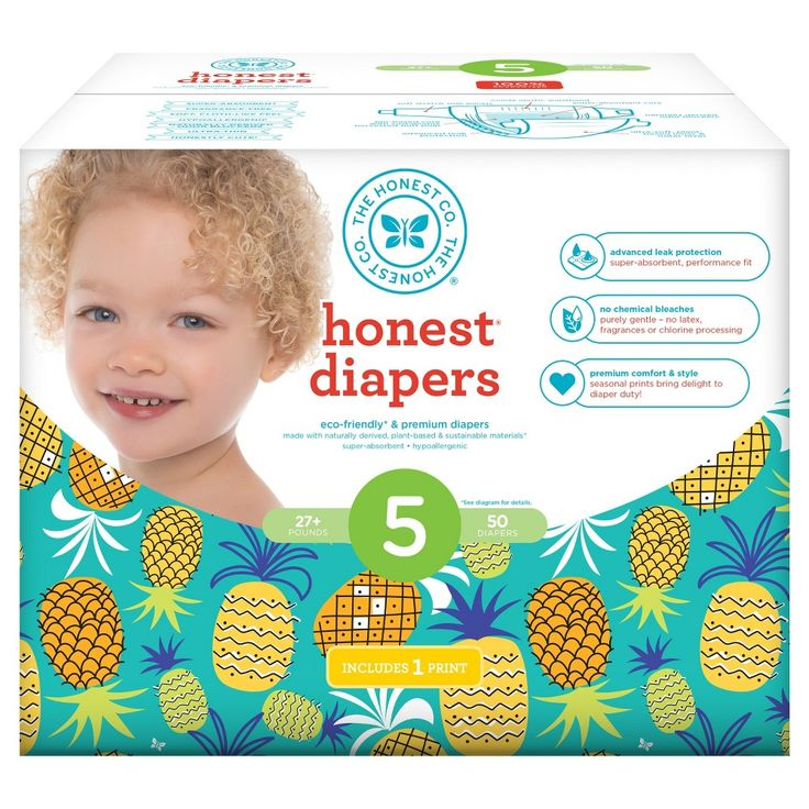 Honest Company Diapers Club Pack, Pineapples - Size 5 (50 ct),