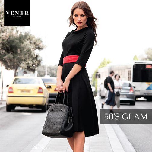 Μία από τις φετινές τάσεις της μόδας είναι το 50's Glam! Δείξτε classy με ένα midi φόρεμα με κλειστό λαιμό.  Η νέα μας κολεξιόν: tinyurl.com/of8s8of #venerfashion #womensfashion #fall2014 #winter2015 #50s