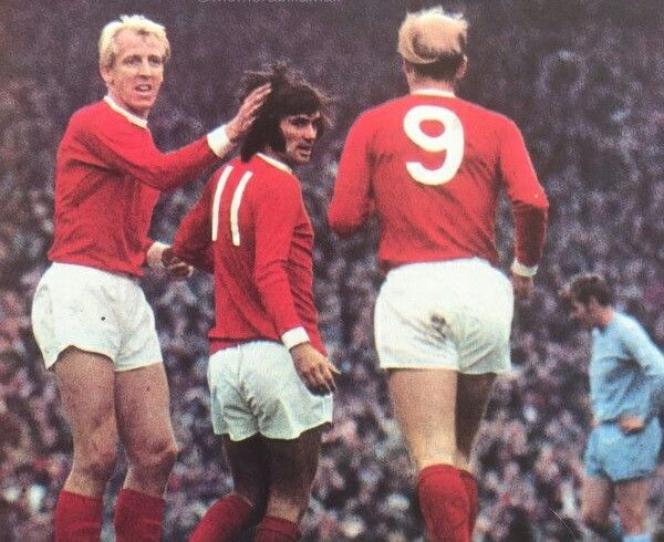 Man Utd 2 Coventry City 0 in Sept 1970 at Old Trafford. George Best is congratulated after scoring #Div1