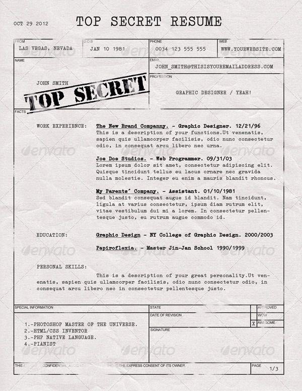 Top Secret Resume Cv With Images Lettering Resume Cv Resume