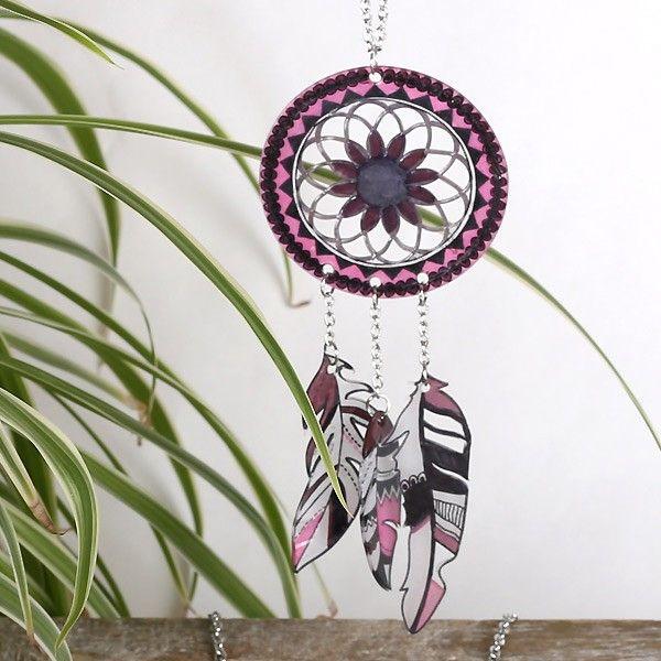 Kit bijoux plastique dingue Attrape-rêves - Graine Créative - Contient tout le matériel pour réaliser 1 collier, 1 bracelet et des boucles d'oreilles