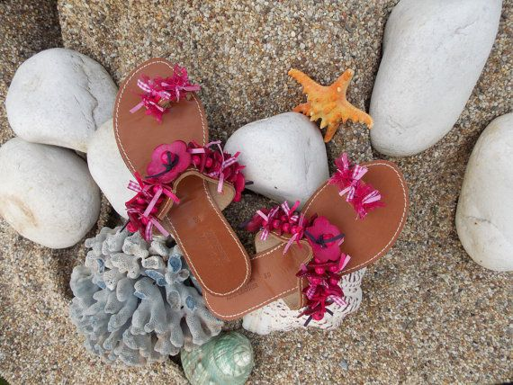 Fuchsia Pink footsteps  Greek leather summer sandals by eleles