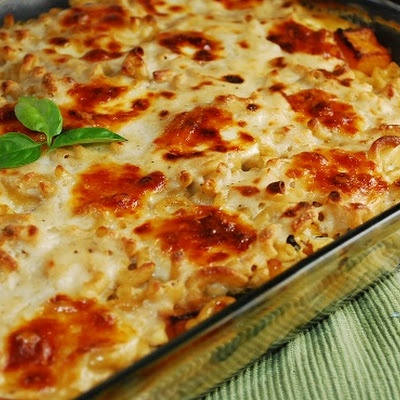 Butternut Squash and Spinach Pasta Casserole Recipe with Caramelized Onions