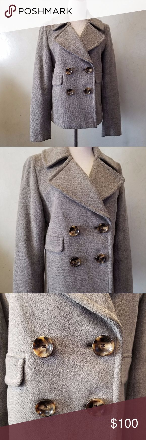 NWOT Banana Republic Pea coat New with out tags banana republic gray double breasted pea coat with 1 side pocked on each side and pocket flaps Banana Republic Jackets & Coats Pea Coats