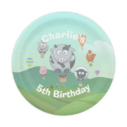 Personalised Balloon Animals Birthday Paper Plate - decor gifts diy home & living cyo giftidea