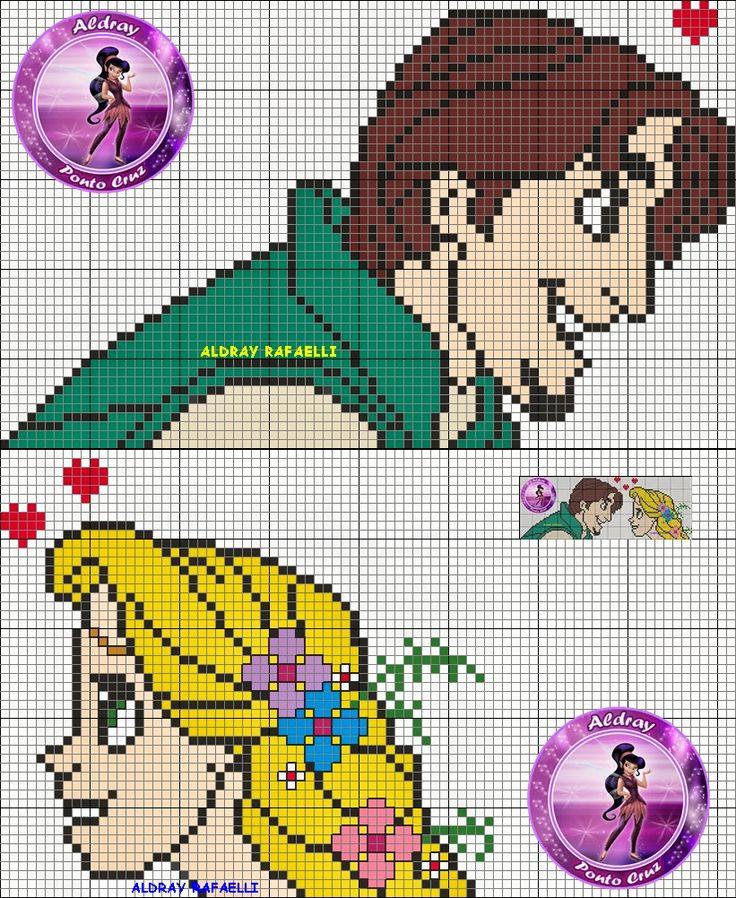 Flynn and Rapunzel perler bead pattern by Drayzinha