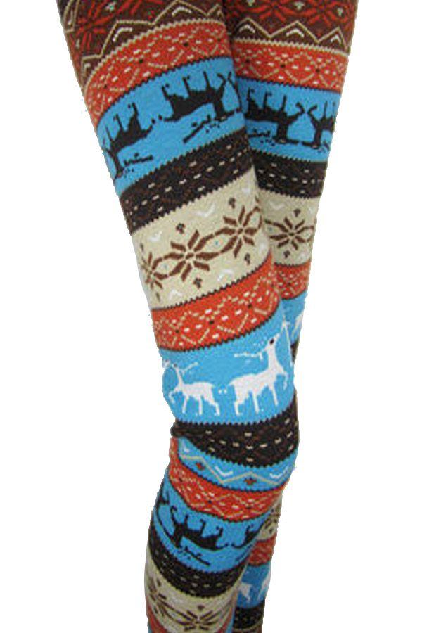 Blue Reindeer Fair Isle Patterned Women Warm Christmas Tights