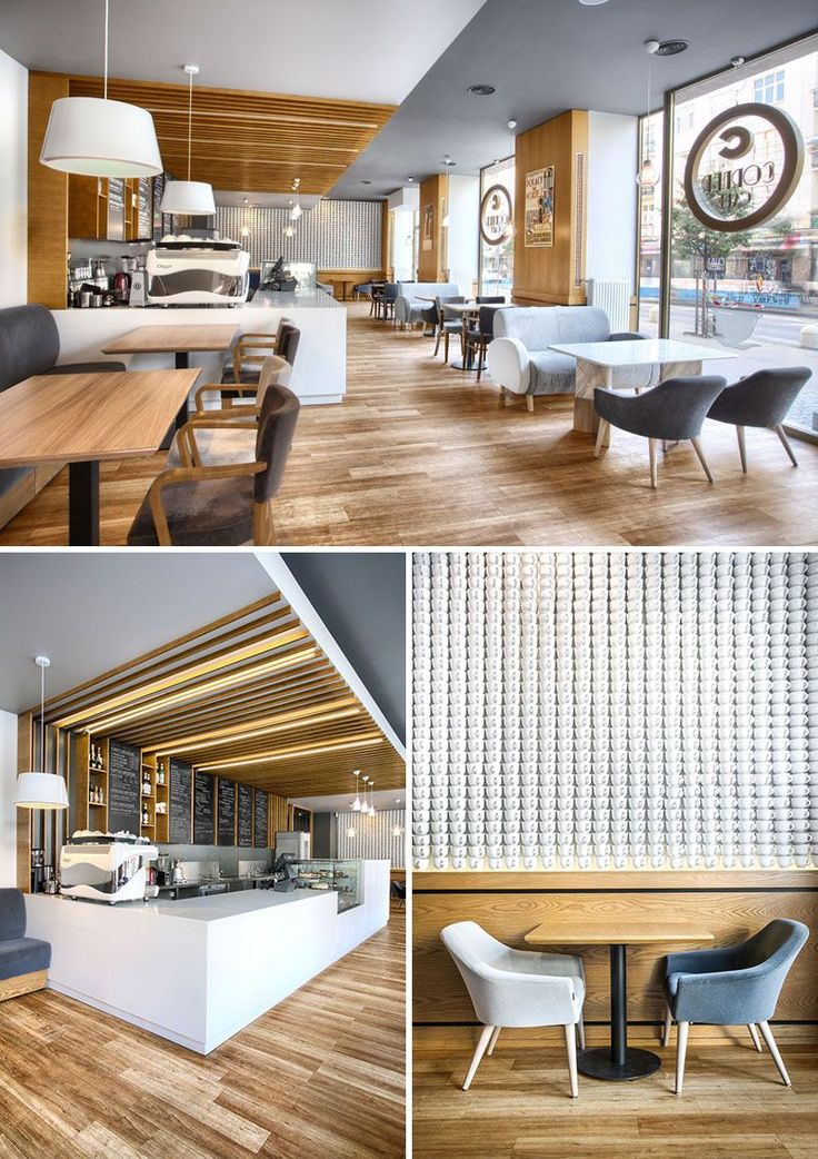 This modern and bright, simple cafe in Gdynia, Poland features a wall covered in 2740 white ceramic teacups.