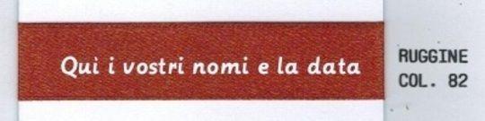 mt 50 Nastro personalizzato matrimonio, doppio raso color ruggine + OMAGGIO. www.aresetichette.it