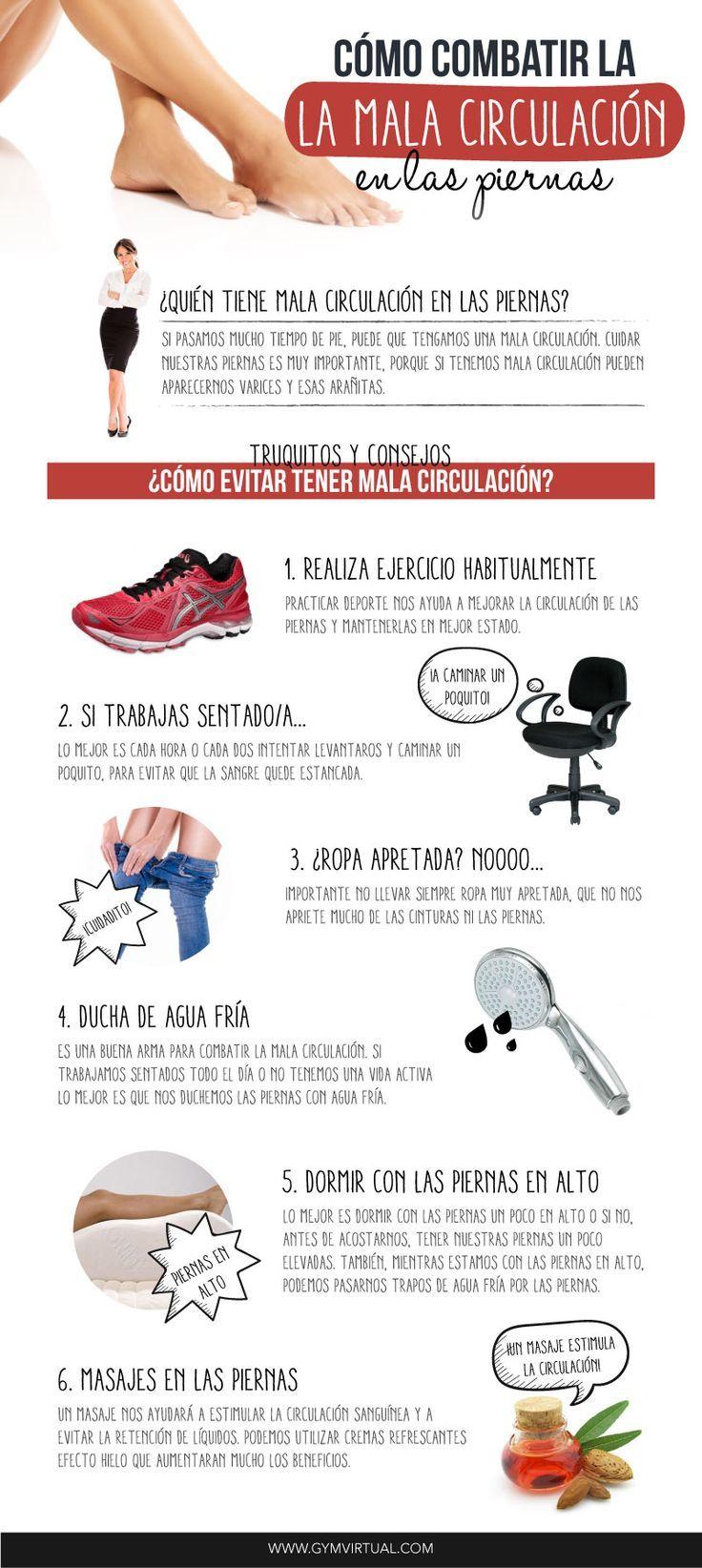 Cómo aliviar los problemas de circulación en las piernas. #infografias #salud #remedios