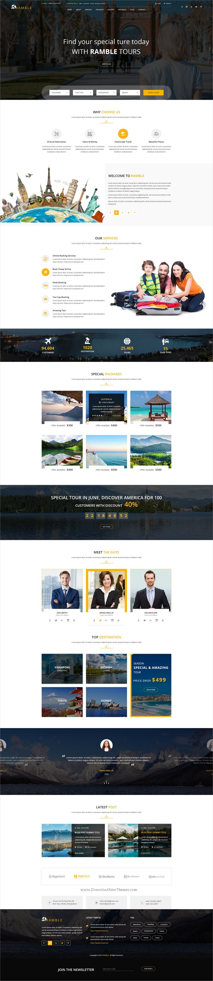 Ramble is clean and modern design #PSD template for for #tour and #travel agencies website with 10 layered PSD files download now > https://themeforest.net/item/ramble-tour-travel-psd-template/19900430?ref=Datasata