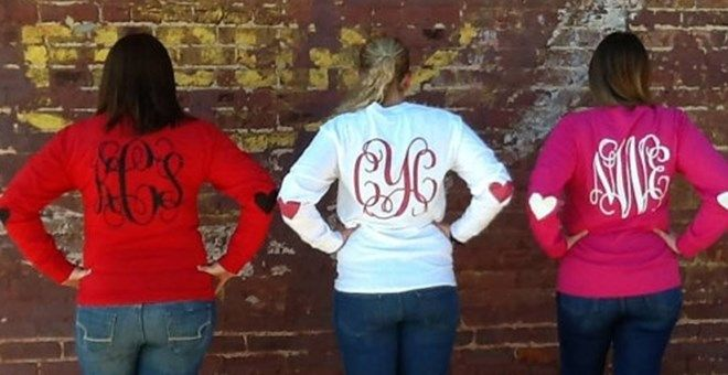 Monogram Valentine Shirt with Elbow Patches
