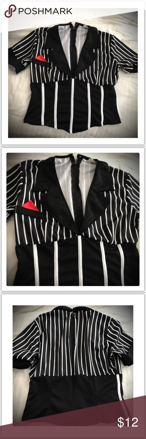 Leg Avenue Stripe tuxedo style event stripe top Black and white stiped top for any event in good condition by Leg Avenue leg avenue Other