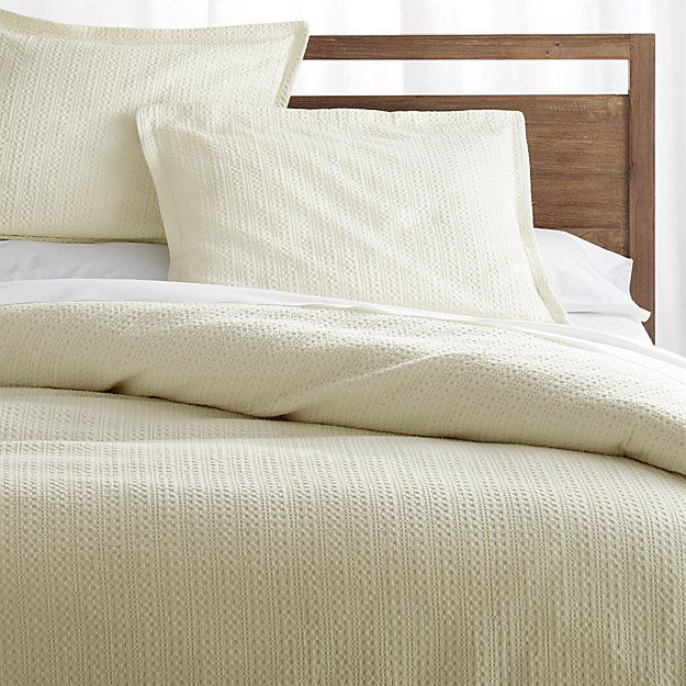 Tessa Cream Duvet Covers and Pillow Shams | Crate and Barrel - in flax or gray not cream