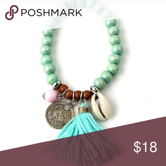 Turquoise Boho Beaded Shell Bracelet Bohemian Shell Charm Bracelet in Turquoise. Not Free People Boutique Brand. Free People Jewelry Bracelets