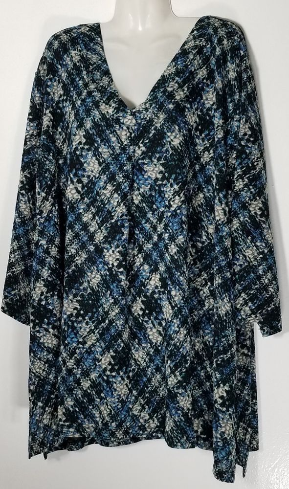 Catherine S Women S Multi Colored V Neck 3 4 Sleeve Top 5x 34 36