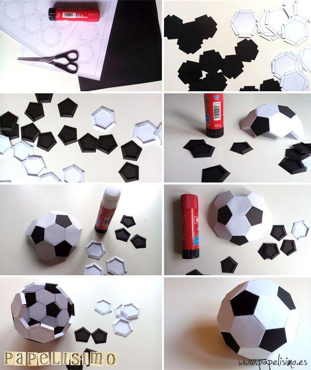 Balón Fútbol de papel. Recorta y pega   Aprender manualidades es facilisimo.com