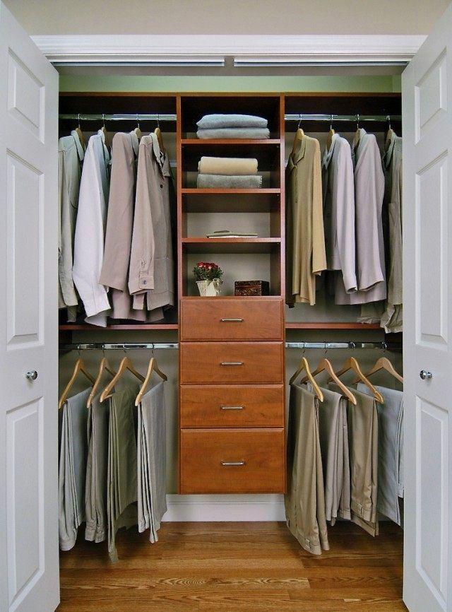 armoire de chambre masculine-bois-cerisier-tiroirs-tringles