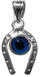 JewelryAffairs Horse Shoe Evil Eye Pendant In Sterling Silver, 22 X 10 Mm.