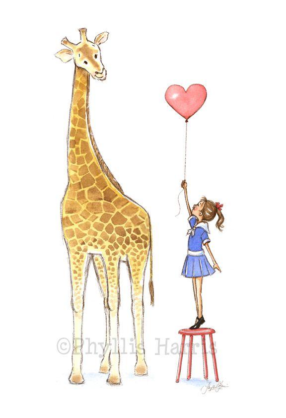 Nursery Wall Art - Giraffe and Little Girl - Childrens Room Décor