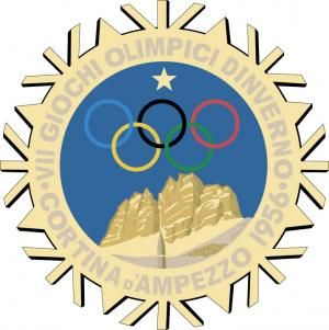 Offical logo for the 1956 Olympic games in Cortina d'Ampezzo.