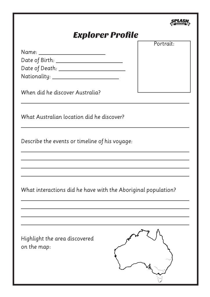 Free First Fleet Explorer Profile Worksheet // Splash