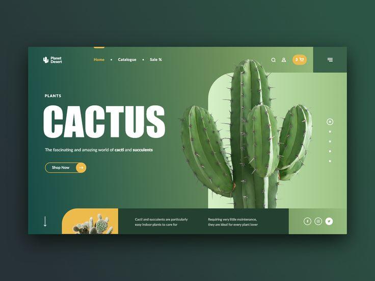 Concepto de sitio web de Cacti & Succulents Store  – A Ui