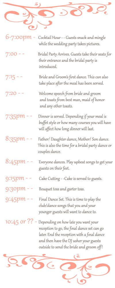 Best 25+ Wedding reception timeline ideas on Pinterest Reception - sample timelines