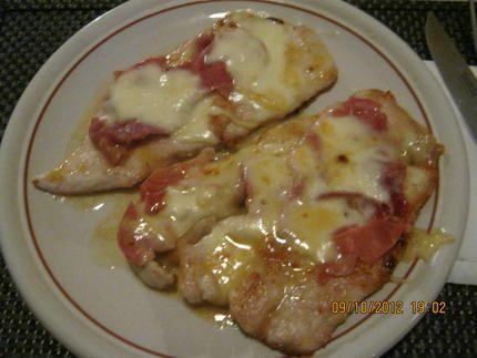 Escalope+de+dinde+,jambon+de+parme,+mozzarella