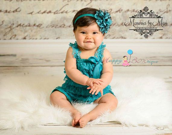 baby, 3pcs Petti Lace Romper, Peacock Teal Romper, Birthday outfit, baby girls outfit, baby romper, Lace romper, flower girl, toddler outfit