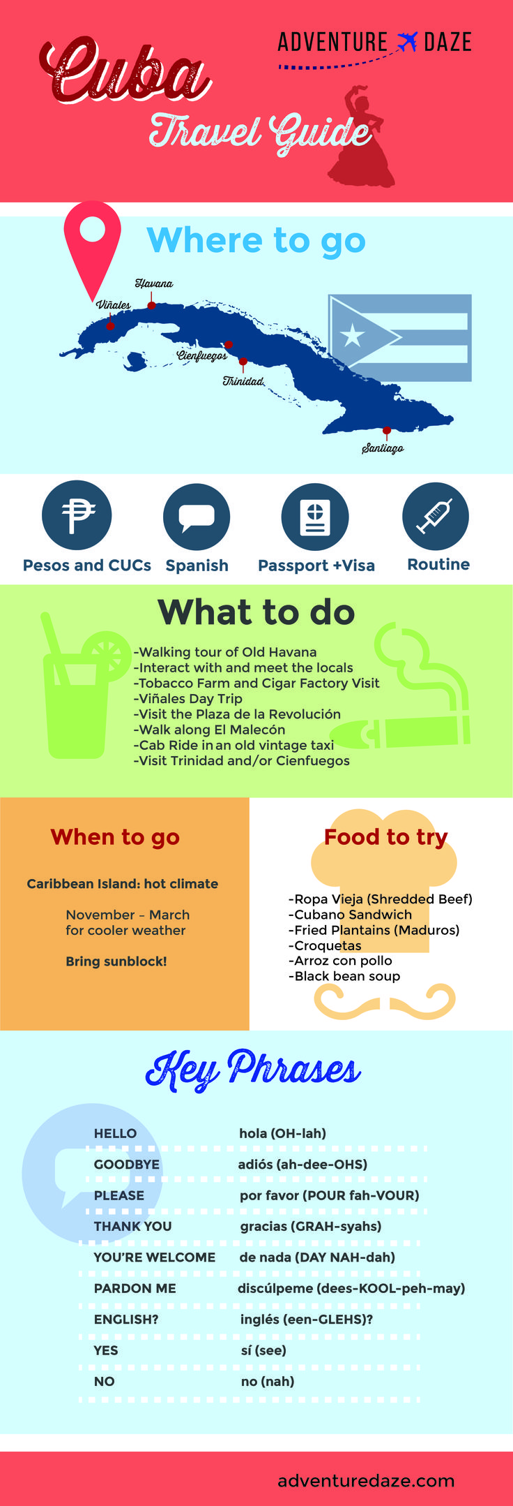 Traveling to Cuba? Check out this awesome AdventureDaze cheat sheet!