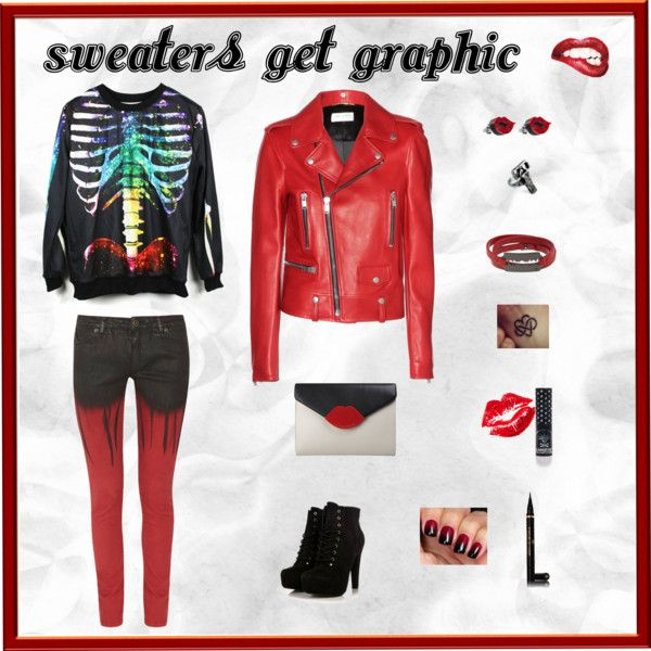 """""""sweaters get graphic !"""" by red-fashion on Polyvore"""