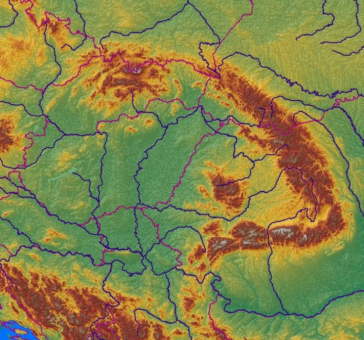 Relief map of the Carpathian Mountains.
