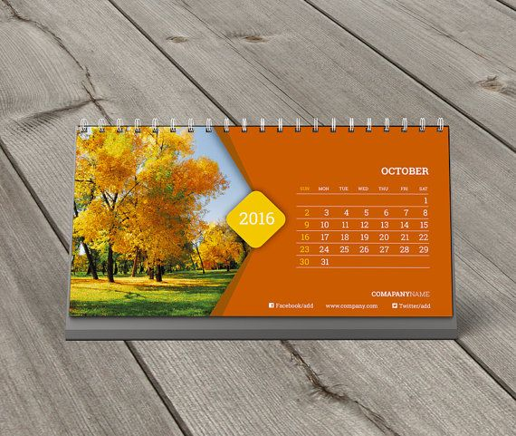 Desk Calendar 2016 Template KB20-W11 by CalendarsTemplates on Etsy