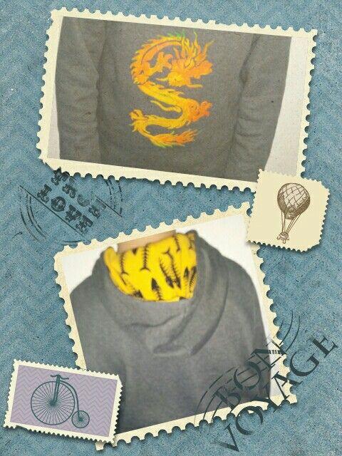 Kapuzen-Sweater Gr 158 mit Pluster-Drachen