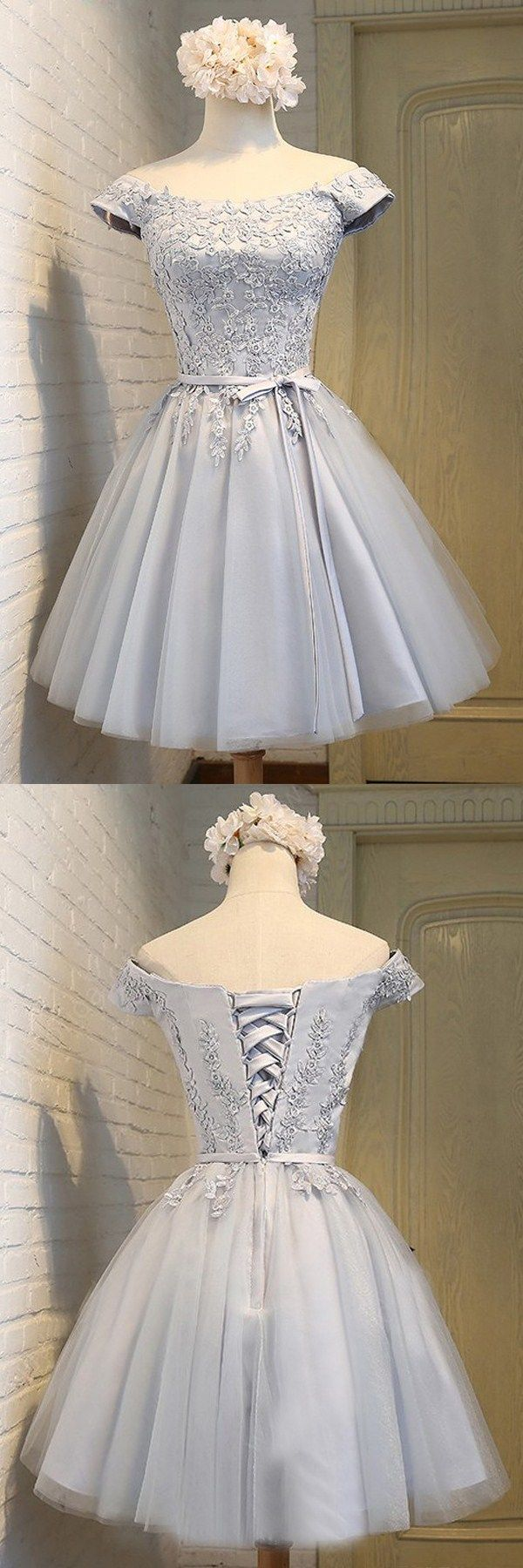 A-Line Off-the-Shoulder Short Sleeveless Gray Tulle Homecoming Dress with Appliques