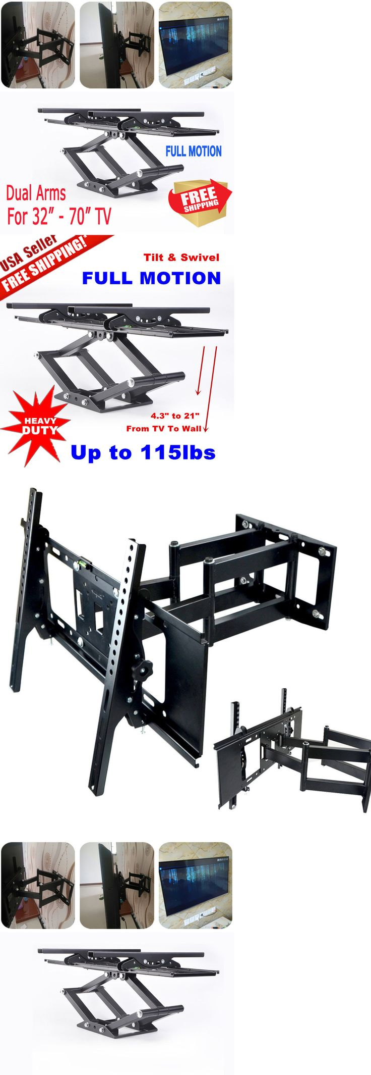 TV Mounts and Brackets: Full Motion Tv Wall Mount Vesa Bracket 32 46 50 55 60 70Inch Led Lcd Flat Screen BUY IT NOW ONLY: $30.85