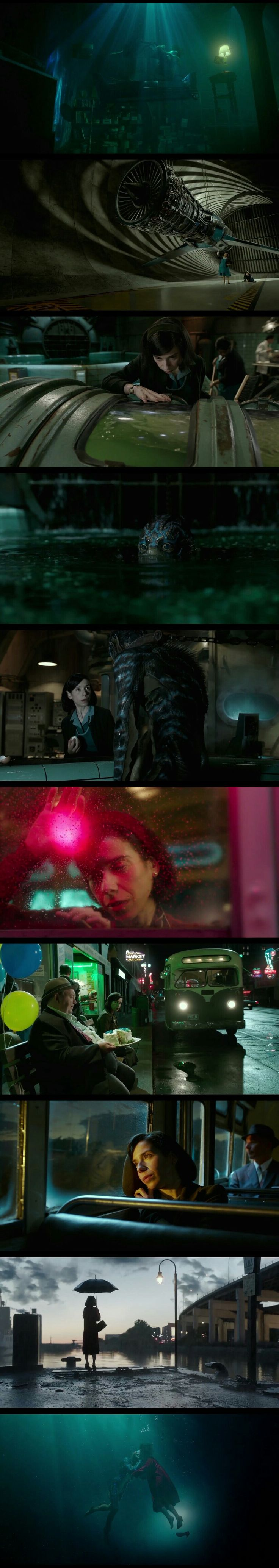 The movis isn't still out but just from trailer we can clearly see some beautiful shots and color uses.  Movie name - Shape of Water. Release Date - December 8,2017.