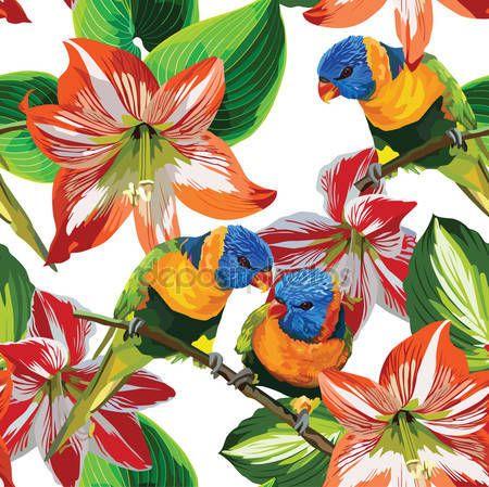 İndir - Patrón papağan ve tropik çiçekler - illüstrasyon Stok # 47739809