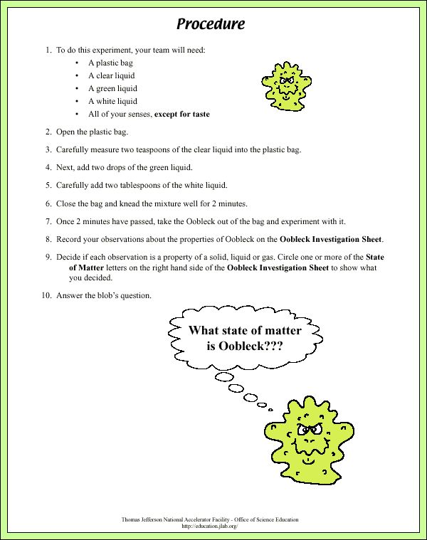 oobleck lesson plan In this teacher-approved lesson, students will make and play with oobleck (corn  starch and water), then write about their experiments young.
