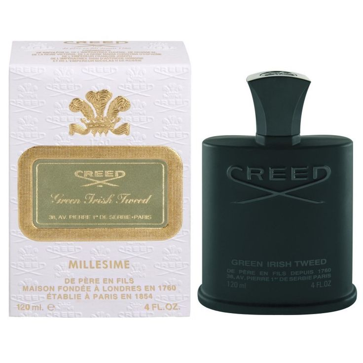 """Creed """"Green Irish Tweed"""" Millèsime 120ml Una passeggiata tra le alte erbe verdi delle lande con un cane da caccia con tutti i suoi sensi all'erta. Le eriche viola, spazzate dal vento che viene dal mare, si chinano davanti a noi, ed in un attimo siamo avvolti dalla nebbia e dall'aria pura"""