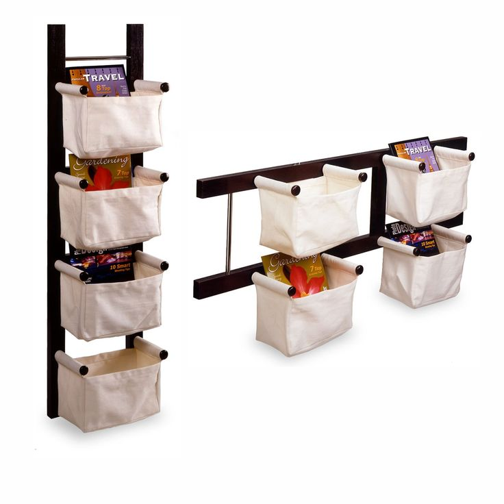 Storage/Magazine Rack with 4 Canvas Baskets - for playroom storage