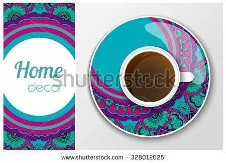 Home decor, vector plate, pattern, cup with coffee #cup #plate #pattern #home_decor #home #decor #coffee #vector #illustration #hand #drawing