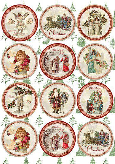 christmas round tags