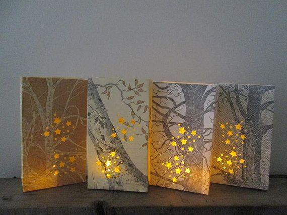 Rustic Luminary Bags, 10 Luminaries, Rustic Wedding, Tree Wedding, Book Centerpiece, Poetry, Poetry Wedding, Tree Lanterns on Etsy, $100.00