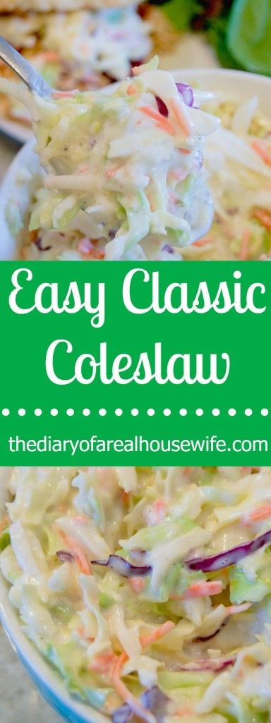 Super easy Classic Coleslaw recipe. I LOVE this recipe so simple to make and taste so yummy.